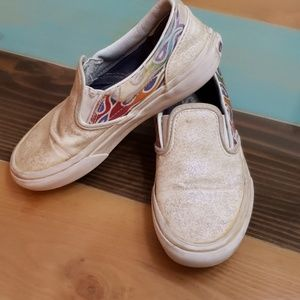 Van's with flame and white glitter